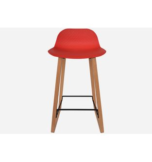 Butaco-con-pata-en-madera-NET-bastidor-Rojo