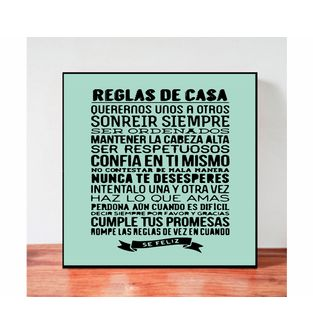 Cuadro-Decorativo-para-Pared-Frases-positivas-Be-Love--Reglas-de-la-Casa-.
