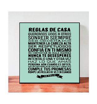 Cuadro-Decorativo-para-Pared-Frases-positivas-Be-Love--Reglas-de-la-Casa-.