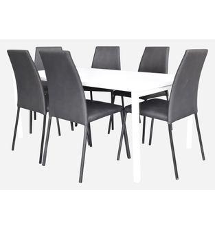 Juego-mesa-de-comedor-Minimal-6-pts---6-Sillas-Elemental-PU-negro-