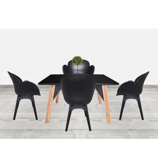 Juego-de-mesa-comedor-Lira---4-sillas-Flower-Negro