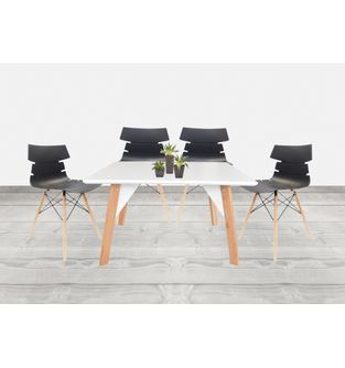 Juego-de-mesa-comedor-Lira---4-sillas-Bali-Negra