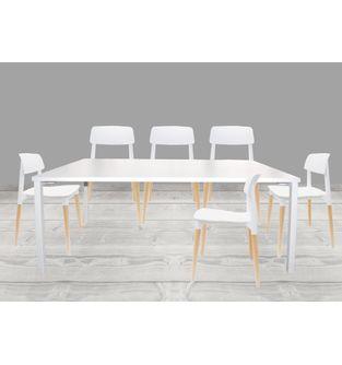 Juego-de-mesa-comedor-Minimal----6-sillas-Fresia-Blanco
