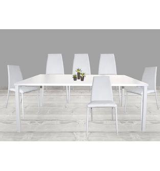 Juego-de-mesa-comedor-Minimal---6-sillas-Elemental-pata-forrada-Blanco