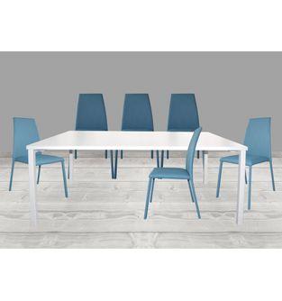 Juego-de-mesa-comedor-Minimal---6-sillas-Elemental-pata-forrada-Azul
