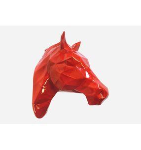 Escultura-Cabeza-Caballo-Facetado-Rojo