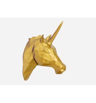 Escultura-Cabeza-Unicornio-Facetado-Dorado
