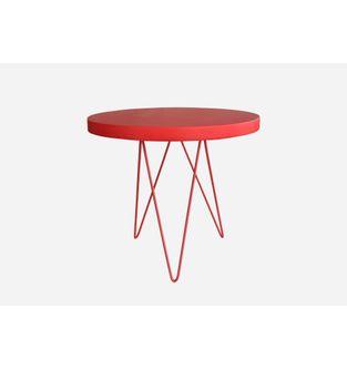 Mesa-auxiliar-Jade-redonda-Poliuretano-Rojo-metal-rojo