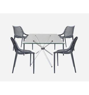 Juego-de-mesa-comedor-Xiam---4-sillas-Cliff-Negro