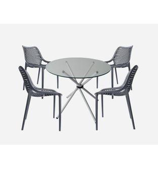 Juego-de-mesa-comedor-Xiam-Vidrio-Redondo---4-sillas-Cliff-Negro