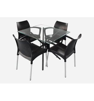 Juego-de-comedor-mesa-Xiam-90cm---4-sillas-Slim-brazo-color-negro