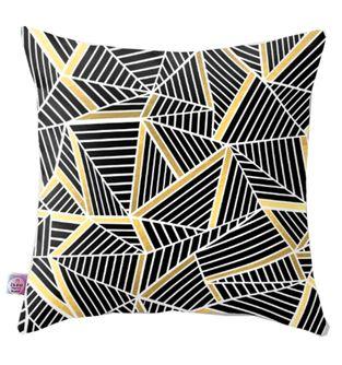 Cojin-Decorativo-Triangullos-negro-y-Dorado