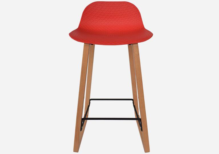 Butaco con pata en madera NET bastidor Rojo - elmobiliario