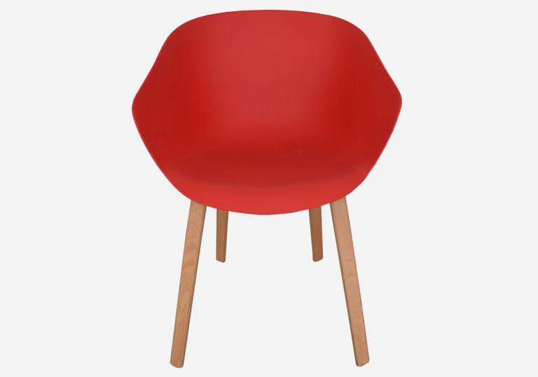 Silla con pata de madera LIA bastidor rojo - elmobiliario