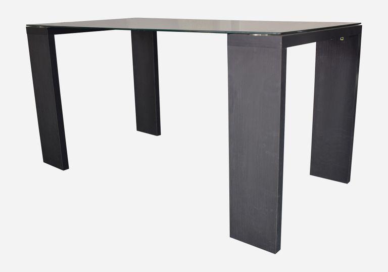 Mesa de comedor 6 puestos Milan vidrio laca negro - elmobiliario