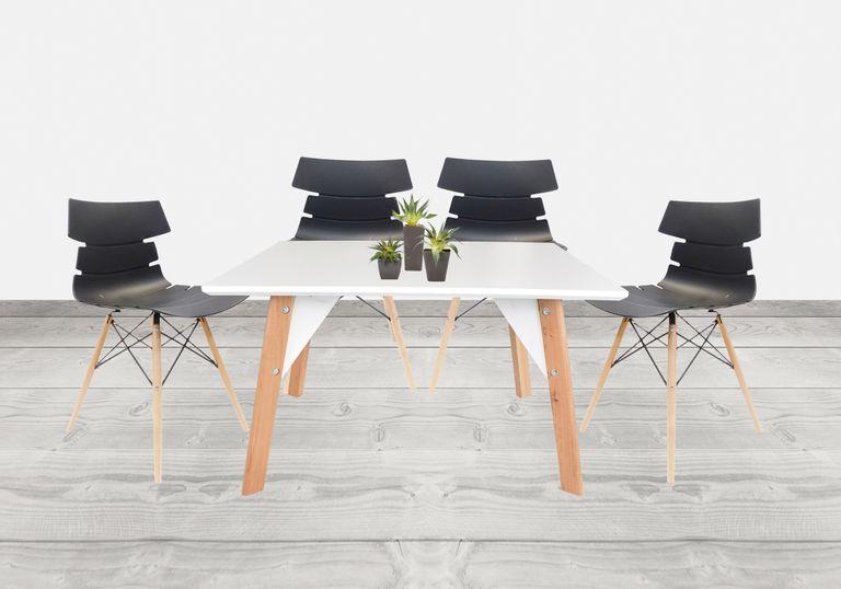 Juego de mesa comedor Lira + 4 sillas Bali Negra - elmobiliario