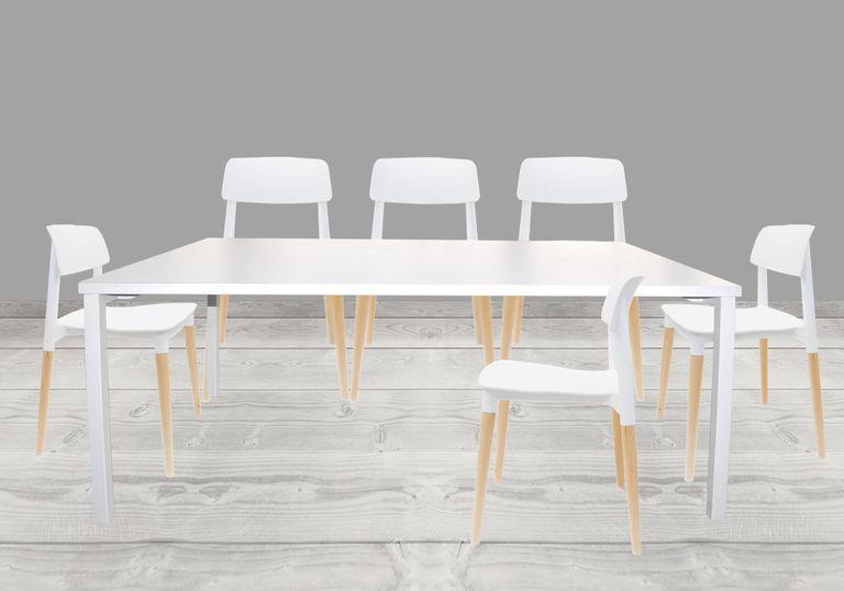Juego de mesa comedor Minimal + 6 sillas Fresia Blanco - elmobiliario