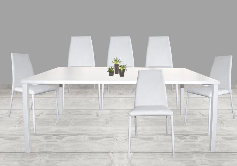 Juego de mesa comedor Minimal + 6 sillas Elemental pata forrada ...