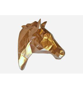Escultura-Cabeza-Caballo-Facetado-Dorado