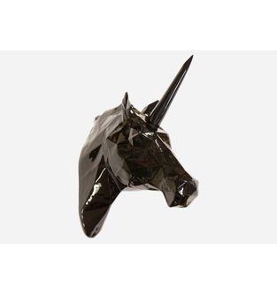 Escultura-Cabeza-Unicornio-Facetado-Negro