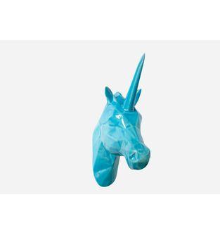 Escultura-Cabeza-Unicornio-Facetado-VerdeMenta