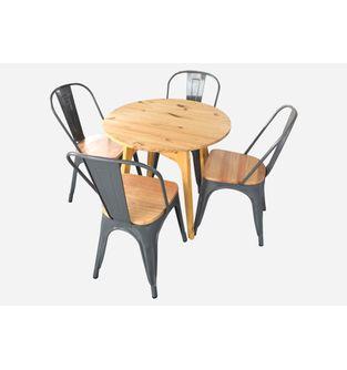 Juego-de-comedor-mesa-Menta-80cm---4-sillas-Nayu-color-gris