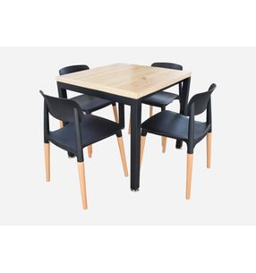 Juego de comedor Minimal 80*80cm+4 silla Fresia - elmobiliario