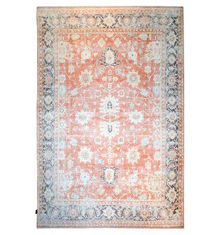 Tapete-Bohemian-patron-blanco-con-fondo-naranja-y-bordes-azules-160x230cm